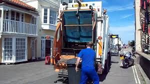 BIN LORRY ( DENNIS) Garbage Truck Aldeburgh Beach Suffolk - YouTube