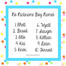 Rens Baby Name Blog No Nickname No Problem Boys