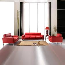 Rustic Red Leather Coch Set Combined With Rectangle Brown Rug And