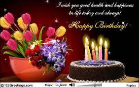 Wish You Health And Happiness Free Happy Birthday Ecards 123 Greetings Happy Birthday Wishes Cards Flower