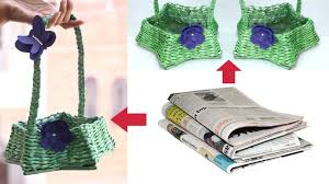 How To Make Newspaper Basket With Handle