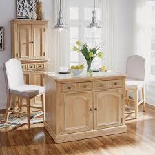 Home Styles Cambridge White Wash Natural Kitchen Island Set With Quartz Top