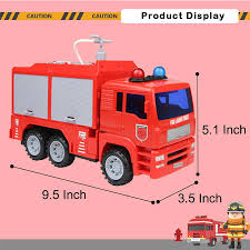 100 Fire Truck Red Engine Shoot Water Toy 911 Ambulance Truck With Siren Light And Sound Rescue Tool Play Vehicle Car Gift For Boys Girls Toddler Kids