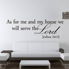 As For Me And My House Famous Quote Wall Decals Vinyl Sticker Bible Verses USA