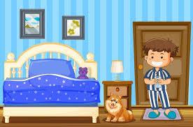 junge und hund im blauen schlafzimmer 419613