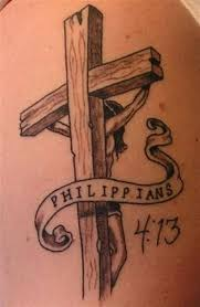 Amazing 3D Wooden Cross With Banner Tattoo Design