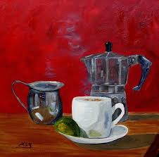 Cuban Coffee Lime And Creamer 2 Painting By Maria Soto Robbins