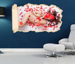 3d wandtattoo tapete frau po blumen rot erotik schlafzimmer durchbruch selbstklebend wandbild wandsticker wohnzimmer wand aufkleber 11o1804