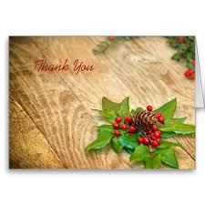 Rustic Christmas Holly Thank You Card