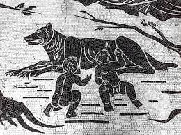 Roma Lupa She Wolf Roman Mosaic Depicting The