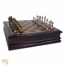 Chess Table Set Antique Classic Board Game Wooden Storage Box Vintage Gift 32