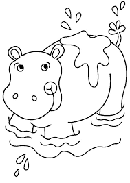 African Animal Coloring Pages Hippo