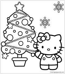 Hello Kitty And Christmas Tree Coloring Page