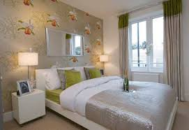 Bedroom Wallpaper In Soft Colors For One Wall Decoration