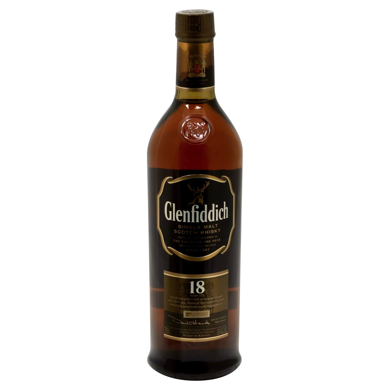 Glenfiddich 18 Year Single Malt Scotch Whiskey - 750 ml bottle