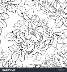 Seamless Pattern With Chrysanthemum In Japanese Style Outline Drawing Coloring Page Book For