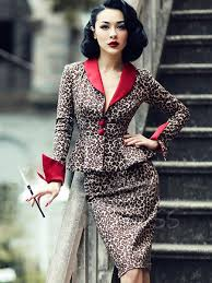 Long Sleeve Lapel Leopard Grain Womens Skirt Suit