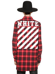 off white c o virgil abloh plaid cotton flannel shirt in red for