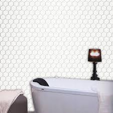 mosaikfliesen keramik hexagon weiss glänzend h51