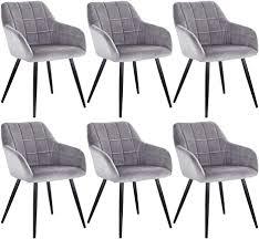 woltu 6 x esszimmerstühle 6er set esszimmerstuhl küchenstuhl polsterstuhl design stuhl mit armlehne mit sitzfläche aus samt gestell aus metall