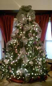 Christmas Tree Mesh Ribbon Decorating With Ideas Decor