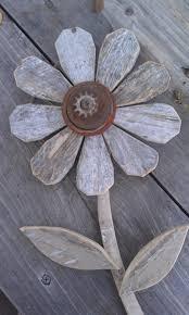 Reclaimed Wood Flower Rustic Wall Decor Rusty Metal Folk Art Garden Industrial
