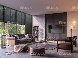 moderne loftwohnesszimmer mit natur view 3d renderingbild stockfoto und mehr bilder architektur