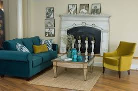 interior design teal blue living room sofa for vintage living