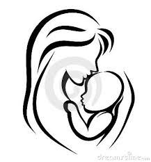 Mother Baby Symbol Outline Tattoo Stencil