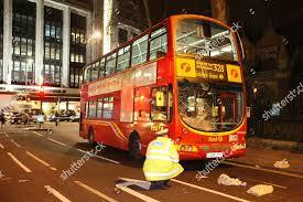 100 Kensington Church London Scene Street After Bus Collision Stock Photo