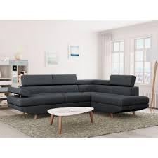 canap d angle tissus gris 330 sur canapé d angle style scandinave 4 places tissu gris foncé