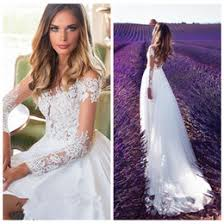 Vestidos De Mariee 2018 Spring A Line Wedding Dresses Country Rustic Bridal Gowns Sheer Neck Lace Appliques Long Sleeve Split Milla Nova