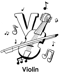 Kids Alphabet Coloring Pages Violin