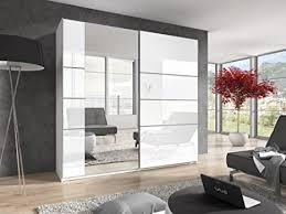 furniture24 schwebetürenschrank berta 58 schrank kleiderschrank 2 türiger schlafzimmerschrank mit spiegel kleiderstange und 6 einlegeboden