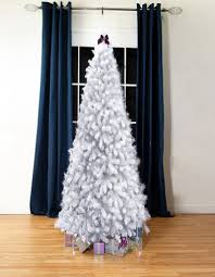White Bergen Flock Artificial Christmas Tree 7ft Tall Slimline
