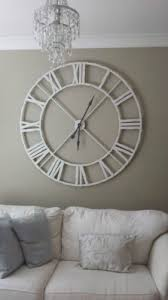 Extra Large Distressed White Metal Roman Numeral Clock
