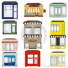 Set of Cartoon Shops architecture bakery building business cafe cartoon