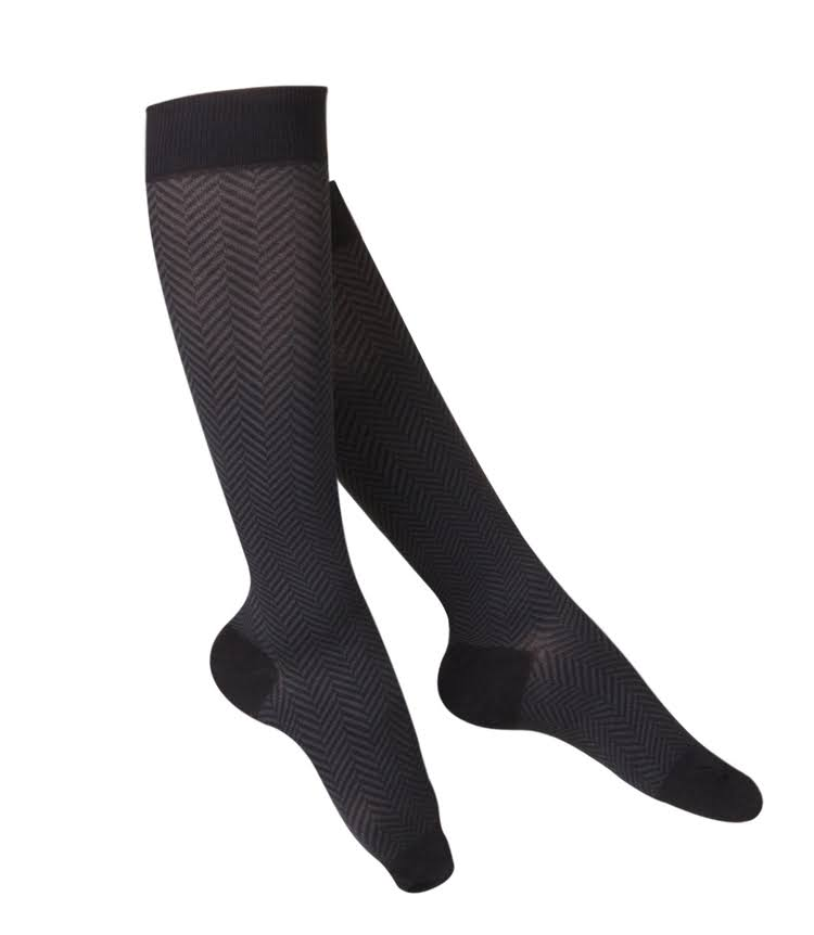 Touch Women's Compression Socks - Knee High, Pattern Knit, 15-20 MMHG, Black, Medium