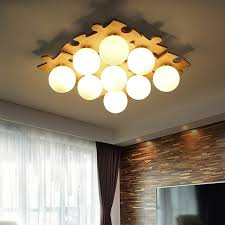 Modern Fashion DIY Wood Bed Room Ceiling Lamp Study Led AC 110V 220V Lampada