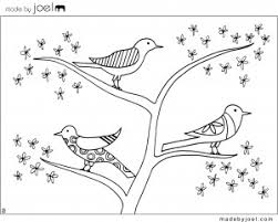 Flower Tree Birds Coloring Sheet