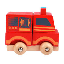 Wooden Mini Fire Truck Vehicle Blocks Toy Disassembly Car Baby Kids ...