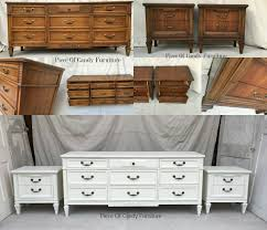 Italian Provincial Dresser Nightstand Set Painted In Antique White