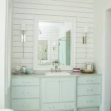 Turquoise Blue Washstand With White Beveled Mirror
