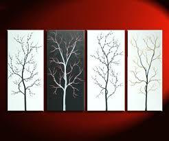 60x30 Custom Monochrome Black And White Original Tree Painting Zen