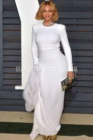 beyonce oscars 2015 ivory long sleeve open back prom dress