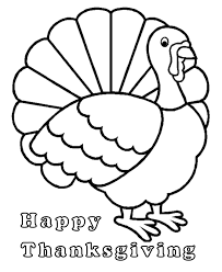 Thanksgiving Turkey Simple Outline Coloring Page