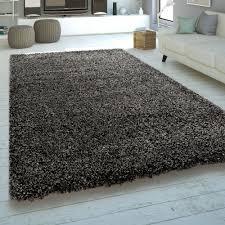 moderner hochflor teppich meliert braun grau