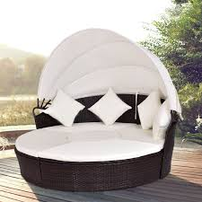 100 Retractable Patio Chairs Costway Costway Outdoor Canopy Cushioned Daybed Round