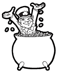 Leprechaun In A Big Pot Of Gol For Saint Patricks Day Coloring Book Page Printable