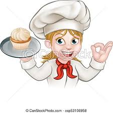 Cartoon Woman Pastry Chef Baker With Cupcake csp